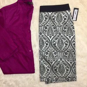 NWT Worthington Paisley Jacquard Pencil Skirt